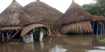 Flooded homes in Koatriang village in Akobo county, South Sudan