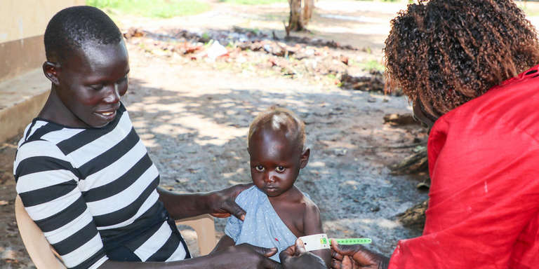 Sophia seeks medical attention for malnutrition in South Sudan.