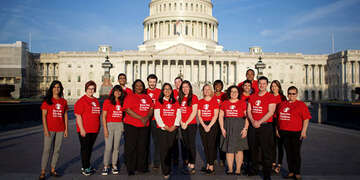 Save the Children and SCAN advocates in front of the U.S. Capitol before meeting with Members of Congress April 2, 2019. Photo by Rachel Couch for Save the Children
