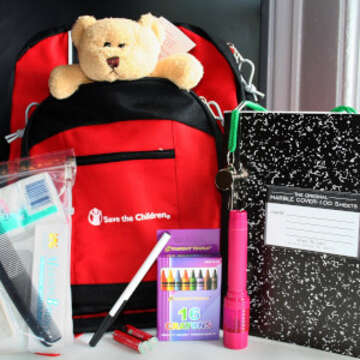 "Hurricane preparedness backpack distributed to children in Mississippi, Louisiana, and Alabama, by Save the Children staff during hurricane preparedness workshops.    Backpack contents:16"" Backpack with STC white logo.Personal Hygiene Kit (soap, soap container, toothbrush, toothpaste, washcloth, comb, Kleenex) Flashlight w/ batteries Teddy Bear, Whistle w/ lanyard, Composition notebook, 8-pack crayons, Pen  Save the Children is offering hurricane preparedness workshops to schools and summer camps in Mississippi, Louisiana, and Alabama, as part of the psychosocial team's menu of programs.  The workshops are scheduled to reach over 2,000 children in Mississippi and over 1,000 children in Louisiana.  The goal of the workshops is to ease anxiety related to the upcoming hurricane season by providing children with information and resources.  The workshops include discussions about having a family plan and being prepared in the event of an evacuation.  The interactive workshop includes parachute games, stories, and poems, and culminates in each child receiving their own preparedness backpack provided by Save the Children.  The backpack allows the child to feel a sense of control and personal responsibility during a chaotic and unpredictable time by having a bag already packed and ready. During Katrina, many children were most upset about losing toys, mementos, and awards, many items that parents didn't realize were valuable to the child.  The preparedness backpack gives each child a space in which to pack personal belongings that they feel are important, in addition to a few emergency supplies and comfort items that are already included in the backpack.             Also distributed is a ""Family Readiness Kit"" brochure created by the American Academy of Pediatrics, it includes important information about family preparedness, a child identification card and list of important phone numbers for parents to fill out for their children. Unrestricted"
