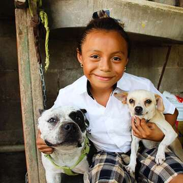 A sponsored child smiles as she holds two small dogs in Mexico.