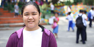 Beauven shares knowledge about oral hygiene at her school in the Philippines.