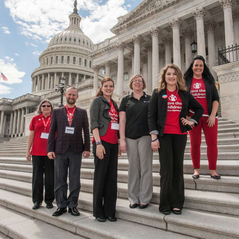 Save the Children staff pose on the steps near the capitol in Washington, D.C. during the 2017 Save the Children Advocacy Summit. Photo credit: Susan Warner/Save the Children, March 2017.
