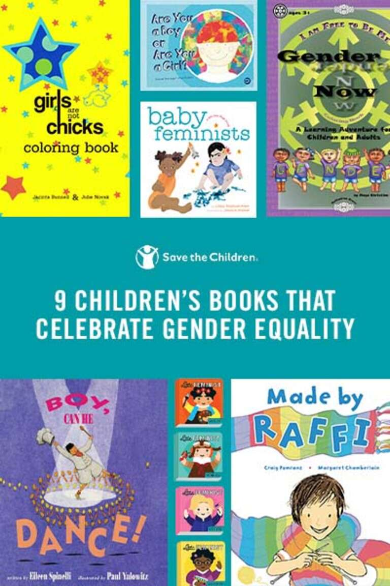 The covers of 9 picture books that celebrate gender equality are displayed.