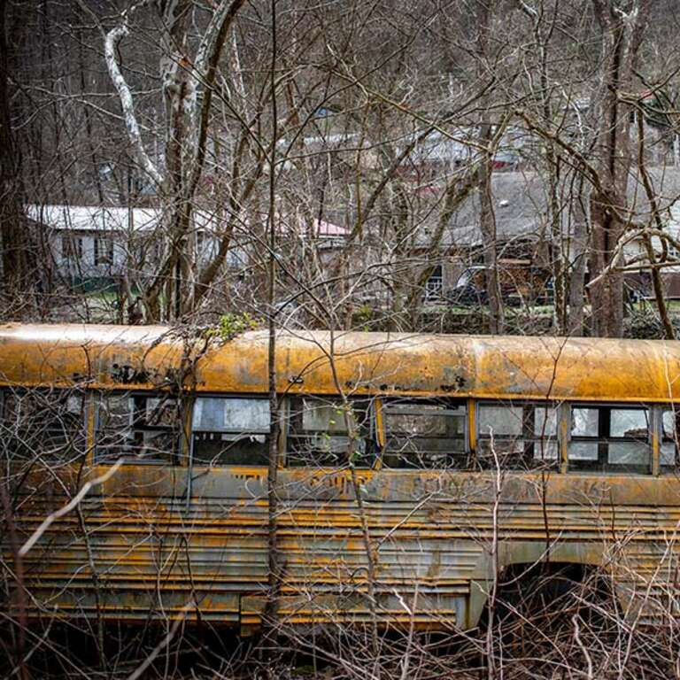 An abandoned school bus sits in a wooded area in rural America.