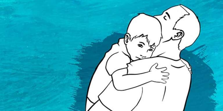An illustration of a father comforting his young son by holding him in his arms tightly.