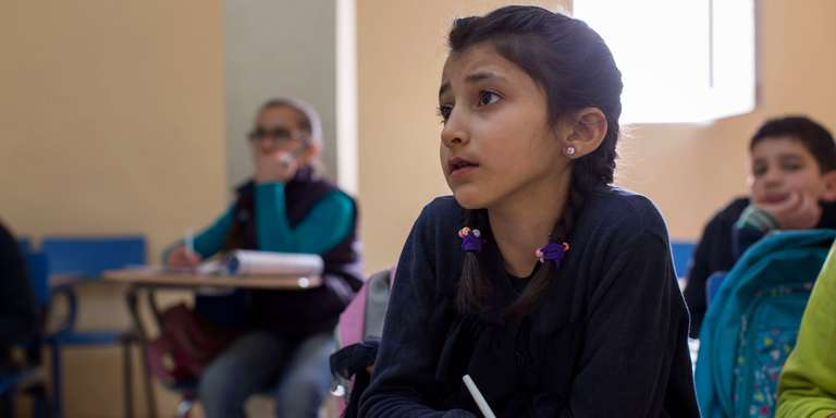 Aseel*, age 10, at school in Egypt. Photo Credit: Save the Children 2017.